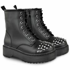 Womens Ladies Studded Chunky Ankle Boots Worker Platform Punk Goth Embellished