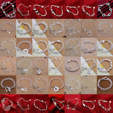 Wholesale Fashion 925Solid Silver Bangle Lady/Mens Silver Bracelet Gift Jewelry