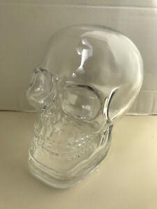 Pottery Barn Clear Glass Skull Cloche Halloween Light Luminary Centerpiece