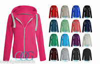 NEW WOMENS TOP ZIPPER HOODY SWEATSHIRT LADIES PLAIN HOODIE HOODED ZIP UP JACKET