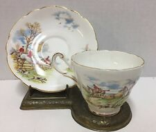 Regency Bone China Vintage Tea Cup and Saucer England Fox Hunt Dog Horses