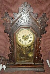 Antique Seth Thomas North Wind No.298 8 Day Half Hour Oak Mantle Clock w Key
