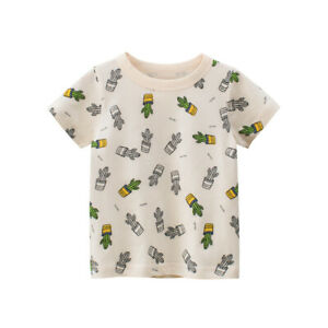T-Shirt Girls Short Sleeves Tee Boys Collarless Top 100% Cotton Cartoon Cactus ^