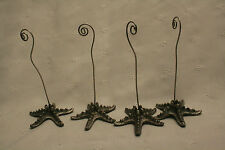 SET OF 4 MODERN METAL STARFISH PEWTER LOOK Picture Clips for Photos