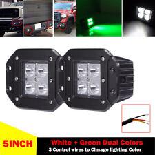 2x 24W White & Green Dual Colors Spot Flush Mount LED Cube Pods Work Light TURCK