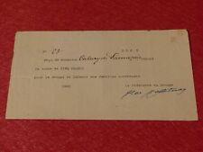 Documento Signo Firmado General Edward Castelnau (WW1 WW2 Militar) 1920