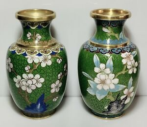 """Set Of 2 Small Chinese Cloisonne Vases Flowers Green 4"""" (1473)."""