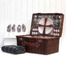 Picnic Basket – Wicker Hamper Basket (4 Person Bromley) with Green Blanket