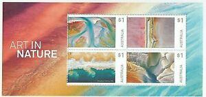 2018 AUSTRALIA MINI SHEET 'ART IN NATURE' MINT WITH BLOCK 4 x $1.00 MNH STAMPS