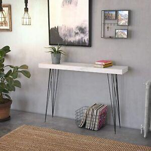 Slim Metal Side Wood Table Narrow Furniture Faux Marble Top Industrial Room Unit