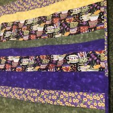 "Tea Cups large lap quilt purple yellow green floral Blanket handmade 58""x42"""