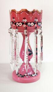 """Antique 13½"""" Floral Rose Vase with Ten Large Prisms"""