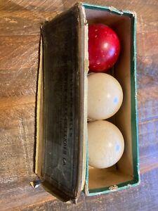Antique Brunswick Balke Collender Box with Carom Ivory Balls