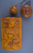 Handcarved Boxwood Enro Box - Owls