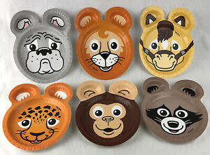 Lot of 6 Hefty Zoo Pals Paper Plates Discontinued Dog Horse Raccoon Monkey Tiger