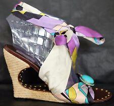 EMILIO PUCCI SILK Scarf Wrap Ankle Cut Out Espadrilles Sandals Wedge Heels 40 10
