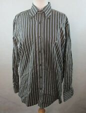 LACOSTE MENS 42 LARGE BUTTON FRONT DRESS SHIRT MULTI COLORED STRIPED W/ LOGO