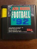 JOHN MADDEN FOOTBALL 92 - SEGA GENESIS - GAME ONLY - FREE S/H -(B14A)