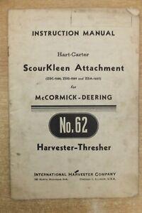 international 62 harvester thresher scourkleen instructions & parts list book