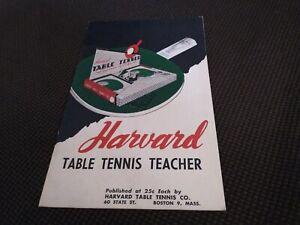 Harvard Table Top Tennis Teacher Booklet Vintage
