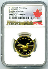2020 $1 CANADA V-E-DAY VE-DAY NAVY PROOF LOON NGC PF69 FIRST RELEASES LOONIE