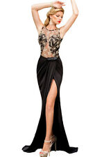 Black & Gold Embroidered Mesh Maxi Cocktail Prom Evening Dress Size UK 10-12