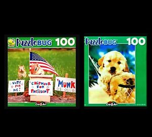 Lot of 2 Puzzles 100 Pcs  by Puzzlebug 8 x 11 Chipmunk For President & Puppy NEW