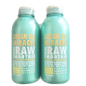 Real Raw Smoothie Argan Oil Miracle Healing Conditioner Size 12 OZ Lot Of 2