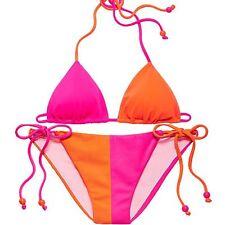 NWT Victoria's Secret Colorblock Teeny Bikini 2 Piece Swimsuit Pink sz Small