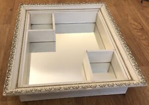SHADOW BOX Carved Wood Vtg Mid Century Hollywood Mirror White Large frame