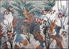 "48"" x 34"" Handmade Sea Horse Family Deep Blue Ocean Marble Mosaic Fish Art Tile"