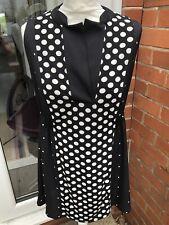 Ladies Next Black & Cream Tunic Top Size 14 BNWT