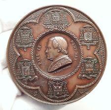 1863 VATICAN Pope PIUS IX Antique LARGE 7.1cm CATHOLIC SOCIETY Medal i75119