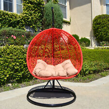 2 Persons Seater Egg Shape Wicker Rattan Swing Lounge Chair Hammock RED