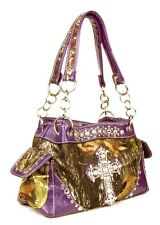CAMO RHINESTONE CROSS WESTERN PURSE PINK PURPLE BLUE BROWN ORANGE GREEN 126