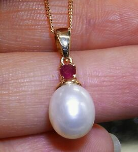 """9CT YELLOW GOLD  PEARL RUBY DROP PENDANT 18"""" CHAIN NECKLACE 9 CARAT"""
