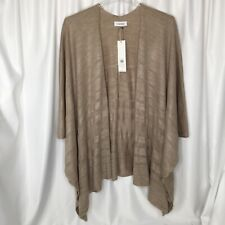 Calvin Klein Poncho Style Sweater Womens One Size Open Front Almond