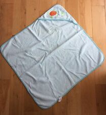 Mothercare Sea Themed Hooded Baby Towel - Fish, Turtle Embroidered - Aqua Blue