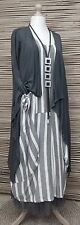 LAGENLOOK BEAUTIFUL 2 PCS OUTFIT STRIPED DRESS+JACKET*ANTHRACITE/GREY*SIZE L-XL