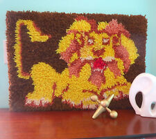 VTG 1970s Modernist Retro Lion Latch Hook Rug Groovy Retro Wall Art Hanging