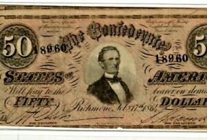 "$50 ""CONFEDERATE""  (BLUEBACK) ""1800'S"" $50 RARE ""BLUEBACK"" SUPER CRISPY!!!!!"