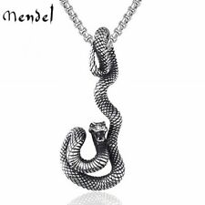 MENDEL Vintage Stainless Steel Mens Zodiac Serpent Snake Pendant Necklace Men