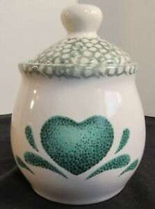 White Ceramic Jar with Speckled Lid & Green Heart China