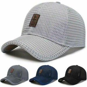 Men Snapback Mesh Baseball Cap Sun Protection Golf Adjustable Breathable Hat