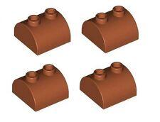 Lego 4 X ladrillo curvada con parte superior de la pendiente 2 X 2 con 2 Pernos Superior Marrón Rojizo Nuevo