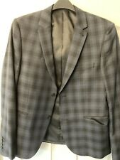 New Look Mens Suit Jacket 40R Black And Blue Check