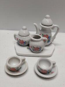 Frenzy Toys Ceramic Floral Roses Design Tea Set Dollhouse Miniature 10  pcs