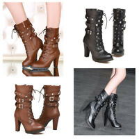 High Heel Boots Women's Mid Calf Martin Shoes Lady Buckle Motorcycle Ankle Rivet