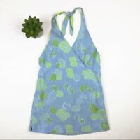Lilly Pulitzer Blue Green Banana Fruit Floral Halter Top Girl Size 10 Cotton