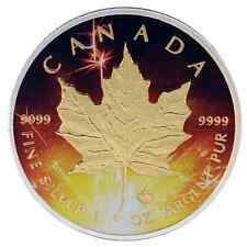2016 1 Oz Ounce Canadian Silver Maple Leaf Coin .9999 Celebration Gold Gilded